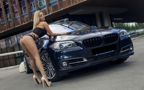 car, blonde, black lingerie, girl, Alex Bazilev, ass
