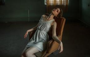 model, white dress, dress, brunette, skinny, sitting