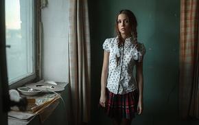 plaid, braids, schoolgirls, Georgiy Chernyadyev, skirt, auburn hair