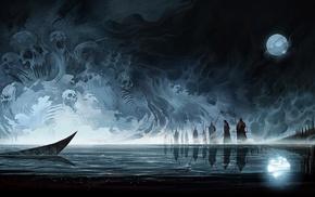 skull, artwork, moon, water, spirits, dark