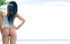 palm trees, wet hair, girl, brunette, girl outdoors, micro bikinis