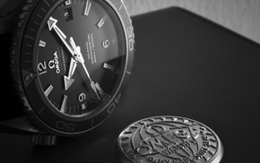 luxury watches, Seamaster, watch, dials, macro, monochrome