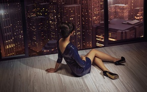 model, skyscraper, sitting, girl, long hair, high heels