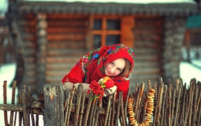 smiling, house, fruit, scarf, model, Russia