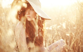 hat, redhead, looking away, freckles, long hair, girl outdoors
