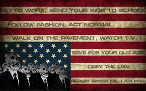 flag, obey, horror, text