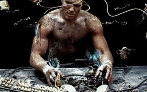 wires, shirtless, men, digital art, science fiction, cyberpunk