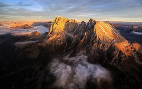 Dolomites mountains, clouds, Alps, landscape, aerial view, mountain