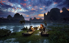 trees, men, China, river, sunrise, clouds