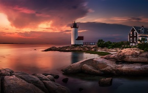 sky, clouds, sea, Massachusetts, nature, lighthouse