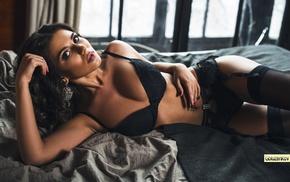 in bed, pierced navel, black stockings, garter belt, Andrew Goluzenkov, stockings