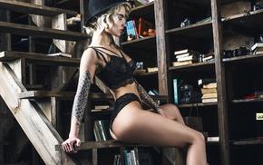 girl, ass, black lingerie, hat, tattoo, Andrew Goluzenkov