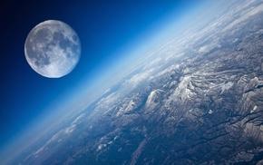 mountain, Earth, moon, planet