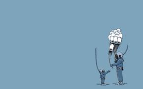 simple background, men, jellyfish, humor, balloons, imagination