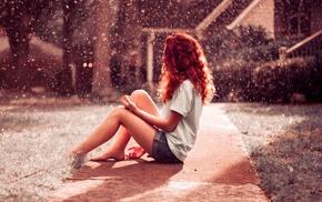 splashes, redhead, long hair, barefoot, T, shirt