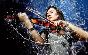 liquid, photo manipulation, girl, musicians, violin, wet