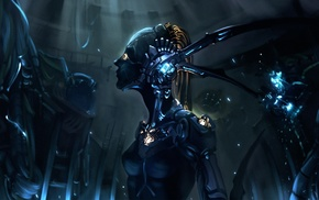 artwork, science fiction, fantasy art, digital art, androids, futuristic