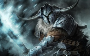 horns, warrior, armor, sword, artwork, helmet
