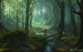 wizard, forest, fantasy art, trees, stairs