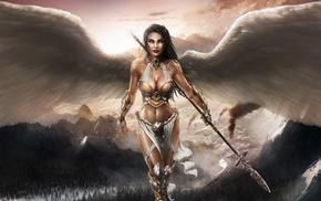 spear, artwork, angel, girl, landscape, blue eyes