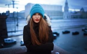 city, lipstick, depth of field, looking at viewer, winter, girl outdoors