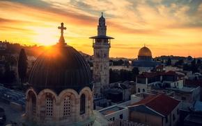 Holy City, Jerusalem, sky, sunset, church, cross