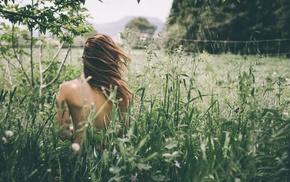 girl, filter, model, nature, back, brunette