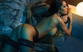 fur, garter belt, smoky eyes, lingerie, topless, black stockings