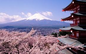 vulcano, Mount Fuji, Asian architecture, landscape
