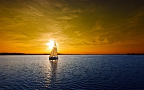 sky, nature, boat, sunset, water, colorful