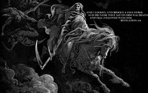 Heaven  Hell, horse, death, apocalyptic, Gustave Dor, drawing