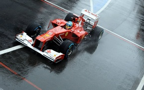 ferrari formula 1, water drops, Formula 1, rain, car, race cars