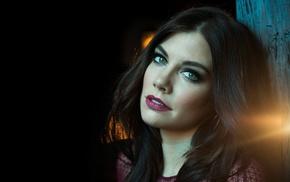 eyes, brunette, girl, green eyes, face, Lauren Cohan