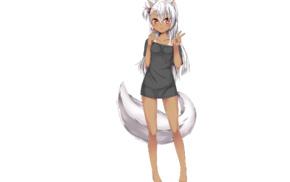 original characters, anime girls, tail, silver hair, dark skin, long hair