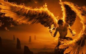 digital art, fire, wings, mist, feathers, angel