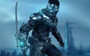 sword, armor, futuristic, mask, cyberpunk, warrior