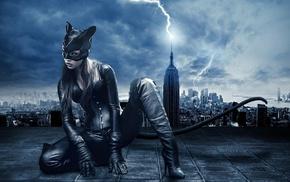 girl, rooftops, mask, Catwoman, lightning, digital art