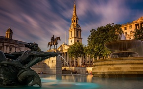water, statue, cityscape, UK, London, sculpture