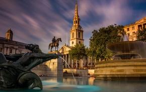water, statue, cityscape, UK, London, sculpture