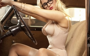 Ancilla Tilia, blue eyes, bustiers, silk lingerie, girl with glasses, blonde