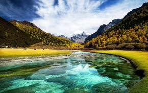 Tibet, water, clouds, fall, turquoise, river
