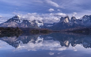 mountain, landscape, trees, reflection, Torres del Paine, Chile
