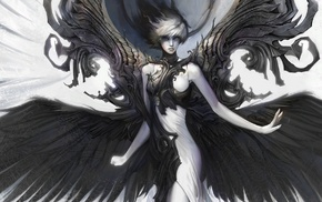 fantasy art, wings, girl, white, black