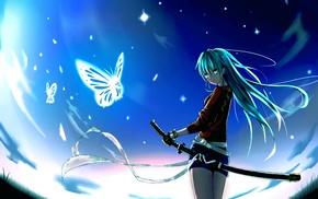 katana, blue, butterfly