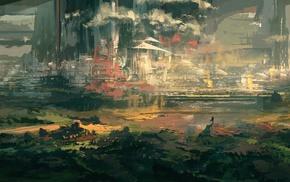 digital art, city, painting, artwork, landscape