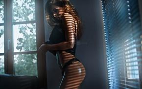 brunette, black bras, black panties, Wojtek Pruchnicki, lingerie, ass