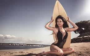 tanned, surfboards, brunette, black hair, model, Laurent Kac