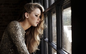 actress, Jennifer Lawrence, smoky eyes, window, girl, long hair