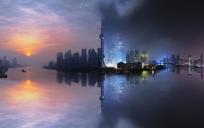 filter, reflection, clouds, photo manipulation, Shanghai, sea