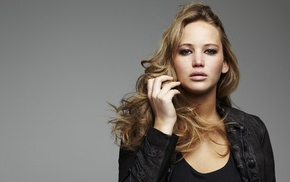 blonde, Jennifer Lawrence, leather jackets, actress, blue eyes, girl